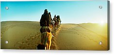 Row Of People Riding Camels Acrylic Print by Panoramic Images