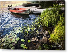 Rowboat At Lake Shore At Dusk Acrylic Print by Elena Elisseeva