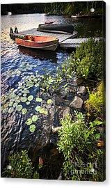 Rowboat At Lake Shore Acrylic Print by Elena Elisseeva