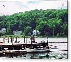 Rowboat Tied To Dock Acrylic Print