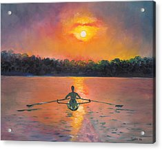 Rowing Away Acrylic Print by Eve  Wheeler