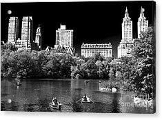 Rowing In Central Park Acrylic Print by John Rizzuto