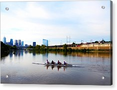 Rowing In Philadelphia Acrylic Print by Bill Cannon