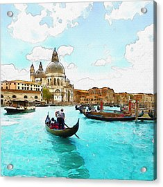 Rowing In Venice Acrylic Print