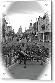 Roy And Minnie Mouse Black And White Magic Kingdom Walt Disney World Acrylic Print by Thomas Woolworth