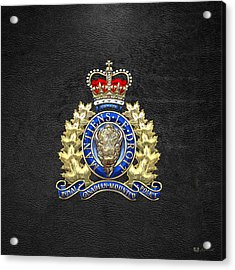 Royal Canadian Mounted Police - Rcmp Badge On Black Leather Acrylic Print