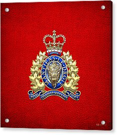 Royal Canadian Mounted Police - Rcmp Badge On Red Leather Acrylic Print