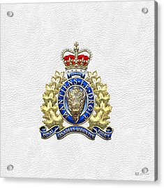 Royal Canadian Mounted Police - Rcmp Badge On White Leather Acrylic Print