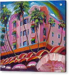 Royal Hawaiian Hotel Acrylic Print by Donna Chaasadah