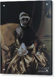 Royal Lady Monkey Human Body Animal Head Portrait Acrylic Print by Jolanta Meskauskiene