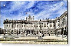 Royal Palace Of Madrid Against Cloudy Sky Acrylic Print by Peter Lammertzen / EyeEm