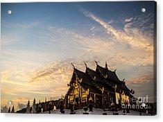 Royal Park Rajapruek On Sunset Acrylic Print by Setsiri Silapasuwanchai