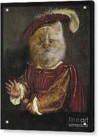 Royal Prince Kitty Human Body Animal Head Portrait Acrylic Print by Jolanta Meskauskiene