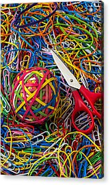 Rubber Band Ball With Sccisors Acrylic Print by Garry Gay