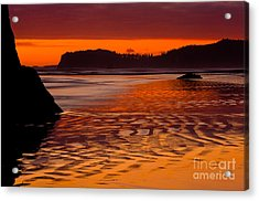 Ruby Beach Afterglow Acrylic Print by Inge Johnsson