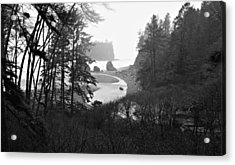 Ruby Beach In The Winter In Black And White Acrylic Print by Jeanette C Landstrom