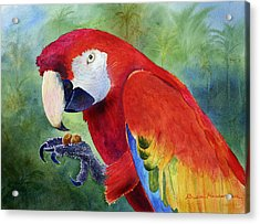 Acrylic Print featuring the painting Ruby Having Lunch by Roger Rockefeller