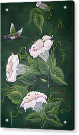Acrylic Print featuring the painting Hummingbird And Lilies by Sharon Duguay