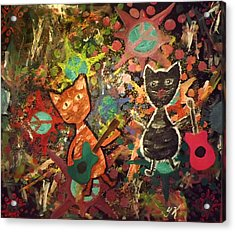 Rudy And Sketch Electric Cats Acrylic Print by Yvonne  Kroupa
