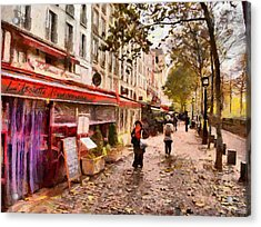 Acrylic Print featuring the painting Rue Coquilliere In Paris by Kai Saarto
