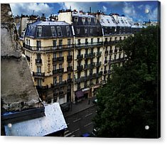 Rue Des Ecoles In Paris France From The 6th Floor Balcony Of The Henri Iv Hotel Acrylic Print by David Blank