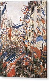 Rue Montorgeuil Decked With Flags Acrylic Print by Claude Monet
