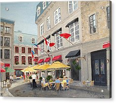 Rue Saint Amable Restaurant Acrylic Print by Marilyn Zalatan