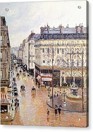Rue Saint Honore Afternoon Rain Effect Acrylic Print by Camille Pissarro