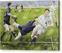 Rugby Match England V New Zealand In The World Cup, 1991, Rory Underwood Being Tackled Wc Acrylic Print by Gareth Lloyd Ball