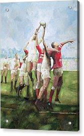 Rugby Match Llanelli V Swansea, Line Out Acrylic Print by Gareth Lloyd Ball