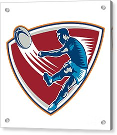 Rugby Player Kicking Ball Shield Woodcut Acrylic Print