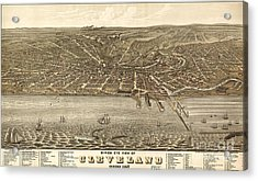 Rugers Birdseye View Of Cleveland 1877 Acrylic Print
