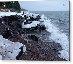 Rugged Shore Winter Acrylic Print by James Peterson