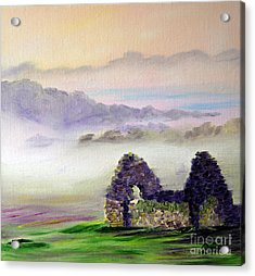 Ruin Above The Mist Acrylic Print by Lynda Cookson