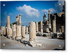 Ruined Marble Columns In Turkey Acrylic Print by Laura Palmer