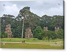 Ruins And Tourists At Angkor Wat Acrylic Print