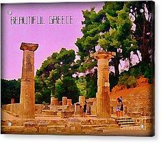 Ruins At Olympus Greece Acrylic Print by John Malone