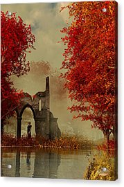 Ruins In Autumn Fog Acrylic Print by Daniel Eskridge