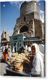 Ruins Of A Mosque With An Open Air Market Acrylic Print