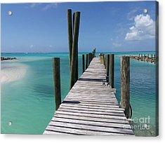Acrylic Print featuring the photograph Rum Cay Marina Jetty In Bahamas by Jola Martysz