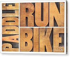 Acrylic Print featuring the photograph Run Bike Paddle - Triathlon Concept by Marek Uliasz