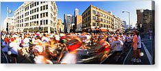 Runners Competing In Bay Bridge Run Acrylic Print by Panoramic Images