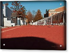Runners - Irwin Belk Track - Davidson College Acrylic Print by Paulette B Wright