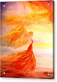 Acrylic Print featuring the painting Running Along The Beach by Lilia D