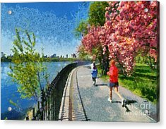 Running Around Reservoir In Central Park Acrylic Print by George Atsametakis