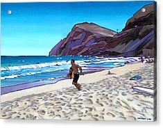 Running At Makapuu Acrylic Print by Douglas Simonson