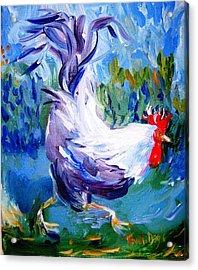 Running Cockerel Acrylic Print by Trudi Doyle
