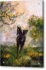 Acrylic Print featuring the painting Running Free Horse Painting by Ginette Callaway