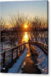 Running In Sunset Acrylic Print