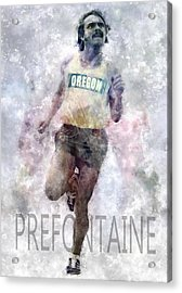 Running Legend Steve Prefontaine Acrylic Print by Daniel Hagerman